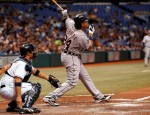 Infielder Miguel Cabrera (24) of the Detroit Tigers fouls off a pitch against the Tampa Bay Rays during the game at Tropicana Field on July 26, 2010 in St. Petersburg, Florida. Getty Images/ J Meric ......