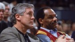 Former USC Trojans' football coach Pete Carroll seen here with then athletics director Mike Garrett at a Trojans' basketball game . Carroll left USC to become the head coach of the NFL's Seattle Seahawks . Since their departures there has been a radical upheaval with the USC Trojans' athletics department overall. courtesy of afp/ Hugh Johnson ...