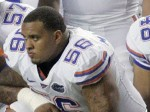 Maurkice Pouncey of the Florida Gators. The player is now embroiled in some improprieties where it's alleged he was in receipt of $100,000 as well as the use of vehicle a Cadillac Escalade whilst attending the University of Florida on football scholarship. Palm Beach Post / M Russell