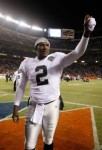 Quarterback JaMarcus Russell (2) celebrates following the Oakland Raiders' victory over the Denver Broncos at Invesco Field at Mile High on December 20, 2009 in Denver, Colorado. The Raiders defeated the Broncos 20-19. (December 19, 2009 - Photo by Jeff Gross/Getty Images North America)