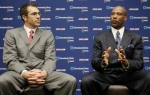 New Cleveland Cavaliers coach Byron Scott , right, answers questions at his news conference with general manager Chris Grant at the NBA basketball team's practice facility in Independence, Ohio Friday, July 2, 2010. (AP Photo/Mark Duncan)