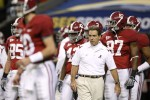 Head coach Nick Saban of the Alabama Crimson Tide watches his players during warm ups against the Florida Gators during the SEC Championship game at Georgia Dome on December 5, 2009 in Atlanta, Georgia.Photo by Kevin C. Cox/Getty Images North America ...