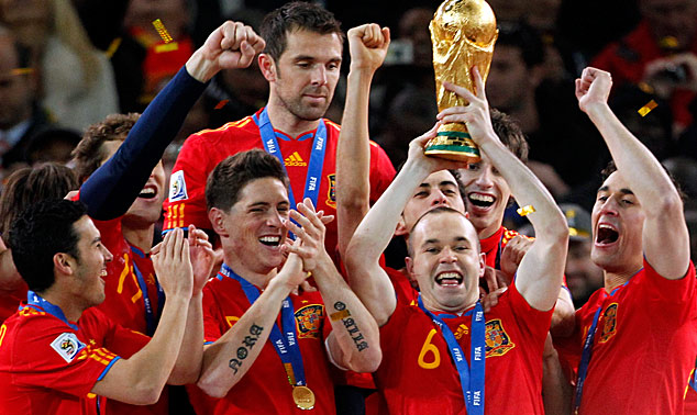 Spain victorious in their 1-0 defeat of the Netherlands in the World Cup held in South Africa. The winning goal scored in overtime was done so MVP Anders Iniesta in the 116th minute of the game. The game itself was a rather lackluster affair. AFP/ Reuters/ Julian den Bosche ....