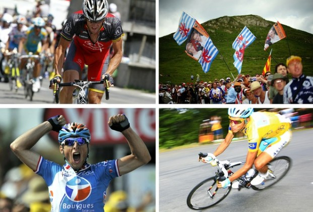 Combo made in Pau shows From top, LtoR, US Lance Armstrong starting to break away in the first kilometers of the Col du Tourmalet pass, Fans waving Luxembourg's flags to support White jersey of Best Young, Luxembourg's Andy Schleck, France's Pierrick Fedrigo celebrating on the finish line and Yellow jersey of Overall leader, Spain's Alberto Contador ridding in the 199,5 km and 16th stage of the 2010 Tour de France cycling race run between Bagneres-de-Luchon and Pau, Southwestern France, on July 20, 2010. AFP PHOTO / LIONEL BONAVENTURE/PASCAL PAVANI/JOEL SAGET