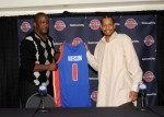 Novemebr 4th 2008: Joe Dumars, President of the Detroit Piston introduces newly acquired Allen Iverson (1) to the media at a press conference held at The Palace of Auburn Hills in Auburn Hills, Michigan. NBAE/Getty Images / Christopher Albert .......