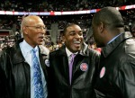 From left to right Pistons greats, Dave Bing, Isiah Thomas and Joe Dumars talk following the All-Time Team celebration before the game as the Detroit Pistons take on the New York Knicks at The Palace of Auburn Hills, Mich. on April 8, 2008. Clarence Tabb, Jr./ The Detroit News ........