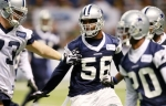 Dallas Cowboys' Bradie James (56) defends on a play during the team's NFL football training camp, Thursday, Dallas Cowboys' during the team's NFL football training camp, Thursday, Aug. 5, 2010, in San Antonio. AP Photo/Eric Gay ........