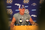 Eden Prairie , Mn., Minnesota Vikings quarterback Brett Favre addresses the media at a press conference after the first morning practice since returning to Vikings Winter Park on August 18, 2010 in Eden Prairie, Minnesota. Photo by Adam Bettcher/Getty Images .....