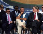 (L-R) Florida Marlins team President David Sampson, City of Miami Mayor Manny Diaz and MLB Commisioner Bud Selig attend the groundbreaking ceremony for the Florida Marlins baseball team's new stadium on July 18, 2009 in Miami, Florida. The park is scheduled to open in 2012 and the team intends to change its name to the Miami Marlins prior to the completion of the ballpark. Getty Images North America / Marc Serotta ........