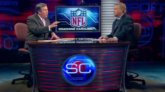 Chris Mortensen (right) and Bob Ley of ESPN present a segment of Sportscenter . Mortensen an on air NFL correspondent for the outlet has been their main spokesperson on the NFL along with his cohort John Clayton. courtesy of espn.go.com/sports/ .......