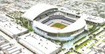 An artist's rendition of what will be the new proposed Marlins ballpark set in downtown Miami. The venue is due for completion before the start of the 2011-12 season . courtesy of Getty Images ........