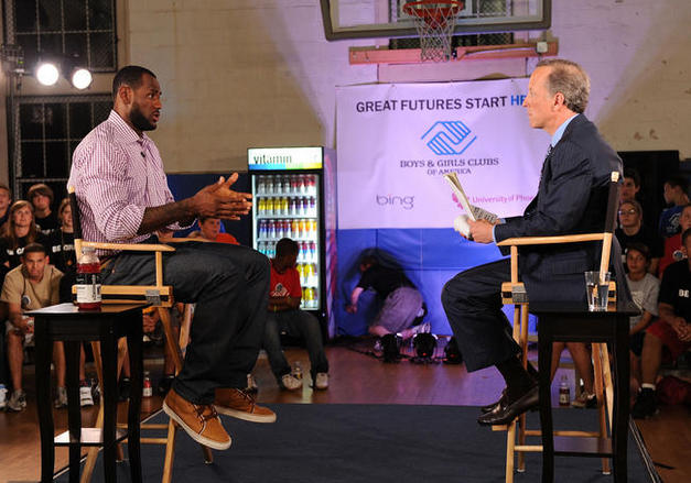 Jim Gray interviews LeBron James during his announcement of his future NBA plans at the Boys & Girls Club of America on July 8, 2010 in Greenwich, Connecticut. The player and his representatives were paid $250,000 by ESPN for a somewhat contrived and less than exhilarating interview. courtesy of Getty Images / Zach Parker .......