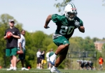 New York Jets rookie Kyle Wilson (20) runs a drill during a mini camp Friday, April 30, 2010, in Florham Park, N.J. AP Photo/Mel Evans.....