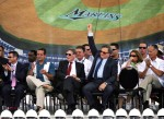 (L-R) Florida Marlins team President David Sampson , City of Miami Mayor Manny Diaz, MLB Commisioner Bud Selig , Florida Marlins owner Jeffrey Loria and Miami-Dade County Mayor Carlos Alvarez attend the groundbreaking ceremony for the Florida Marlins baseball team's new stadium on July 18, 2009 in Miami, Florida. The park is scheduled to open in 2012 and the team intends to change its name to the Miami Marlins prior to the completion of the ballpark. Getty Images North America Inc / Marc Serotta ........