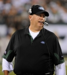 New York Jets Rex Ryan looks on during the second quarter of a preseason NFL football game against the New York Giants at New Meadowlands Stadium in East Rutherford, N.J., Monday, Aug. 16, 2010. AP Photo/Bill Kostroun ........