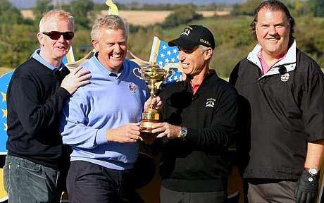 Ryder Cup capatains Colin Montgomerie (center left) and Corey Pavin to Montgomerie's immediate left seen here holding the Ryder Cup trophy. courtesy of Der Spiegel / Gustav Holtz .........