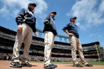 Members of the San Diego Padres look on before their game against the San Francisco Giants during an MLB game at AT&T Park on August 14, 2010 in San Francisco, California. Jed Jacobsohn/Getty Images ..........