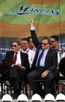 Commisioner Bud Selig (L) and Florida Marlins owner Jeffrey Loria (R) attend the groundbreaking ceremony for the Florida Marlins baseball team's new stadium on July 18, 2009 in Miami, Florida. The park is scheduled to open in 2012 and the team intends to change its name to the Miami Marlins prior to the completion of the ballpark. Getty Images/ Marc Serotta ..........