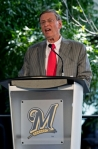Major League Baseball commissioner Bud Selig speaks at a ceremony to unveil a statue of Selig outside Miller Park Tuesday, Aug. 24, 2010, in Milwaukee. Selig is the former owner of the Milwaukee Brewers. AP Photo/Morry Gash .........