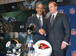 NFL Commissioner Roger Goodell (R) poses for a photograph with Tony Dungy after addressing the media at a news conference prior to Super Bowl XLIII on January 30, 2009 at Tampa Convention Center in Tampa, Florida. Photo by Drew Hallowell/Getty Images North America ........