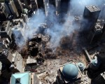 An aerial view in the aftermath of the destruction of the World Trade Center's Twin Towers. Associated Press