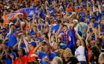 Boise State Broncos fans celebrate after defeating the Virginia Tech Hokies 33-30 at FedExField on September 6, 2010 in Landover, Maryland. Geoff Burke/Getty Images .....