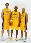 Kobe Bryant (24), Pau Gasol (16) and Derek Fisher (2) of the Los Angeles Lakers pose for a photograph during Media Day at the Toyota Center on September 25, 2010 in El Segundo, California. Photo by Kevork Djansezian/Getty Images