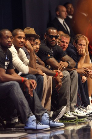 (L-R) Dwayne Wade, Carmelo Anthony, Amare Stoudemire and LeBron James look on during the World Basketball Festival USAB Showcase at Radio City Music Hall on August 12, 2010 in New York City. Chris Trotman/ Getty Images .........