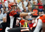 Quarterback Carson Palmer (9) of the Cincinnati Bengals gestures during the NFL season opener against the New England Patriots at Gillette Stadium on September 12, 2010 in Foxboro, Massachusetts. Jim Rogash/Getty Images
