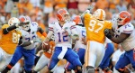 Knoxville ,Tn,. Quarterback John Brantley (12) of the Florida Gators drops back to pass against the Tennessee Volunteers at Neyland Stadium on September 18, 2010 in Knoxville, Tennessee. Photo by Grant Halverson/Getty Images