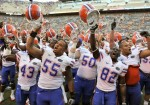 Florida Gators sing the alma mater after a game against the Tennessee Volunteers at Neyland Stadium on September 18, 2010 in Knoxville, Tennessee. Florida won 31-17. Grant Halverson/Getty Images