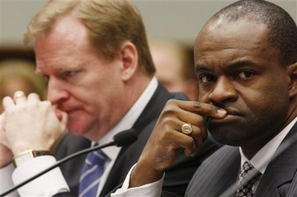 NFL Players Association Executive Director DeMaurice Smith, right, NFL Commissioner Roger Goodell sit at the witness table on Capitol Hill in Washington. A year without a Super Bowl? It may be unthinkable to football fans, but that's a worry behind a new lobbying push by NFL players. The NFL Players Association is bracing for a showdown with team owners that could lead to a work stoppage when the current collective bargaining deal expires, ratcheting up its lobbying on Capitol Hill under new executive director DeMaurice Smith. Charles Dharapak / Associated Press