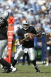 Jason Campbell (8) of the Oakland Raiders looks to pass against the Tennessee Titans during the NFL season opener at LP Field on September 12, 2010 in Nashville, Tennessee. The Titans defeated the Raiders 38-13. ____ Joe Robbins/Getty Images