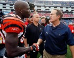 Coach Bill Belichick of the New England Patriots shakes hands with Chad Ochocinco (85) of the Cincinnati Bengals at the completion of the NFL season opener at Gillette Stadium on September 12, 2010 in Foxboro, Massachusetts. The Patriots won 38-24. Jim Rogash/Getty Images