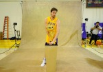El Segundo , Ca,. Pau Gasol (16) of the Los Angeles Lakers poses for a photograph with the NBA Finals Larry O'Brien Championship Trophy during Media Day at the Toyota Center on September 25, 2010 in El Segundo, California. Photo by Kevork Djansezian/Getty Images ....