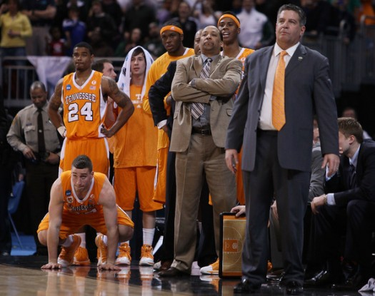 Head coach Bruce Pearl of the Tennessee Volunteers and the rest of his bench watch as the Michigan State Spartans shoot a free throw during the midwest regional final of the 2010 NCAA men's basketball tournament at the Edward Jones Dome on March 28, 2010 in St. Louis, Missouri. Michagan State defeated Tennessee 70-69 to advance to the Final Four. Elsa Martinez / Getty Images