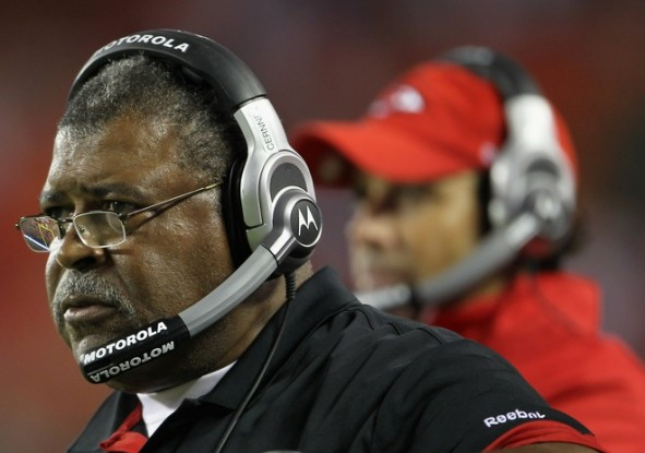 Defensive Coordinator Romeo Crennel of the Kansas City Chiefs looks on from the sidelines alongside head coach Todd Haley during the game against the Green Bay Packers on September 2, 2010 at Arrowhead Stadium in Kansas City, Missouri. Jamie Squire/Getty Images