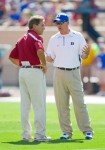 Blue Devils' head coach David Cutcliffe (right) talks with Alabama Crimson Tide head coach Nick Saban prior to the start of their game at Wallace Wade Stadium on September 18, 2010 in Durham, North Carolina. The Crimson Tide defeated the Blue Devils 62-13. Photo by Brian A. Westerholt/Getty Images