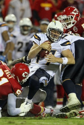 Quarterback Philip Rivers (17) of the San Diego Chargers is sacked during the game against the Kansas City Chiefs on September 13, 2010 at Arrowhead Stadium in Kansas City, Missouri. (Photo by Jamie Squire/Getty Images