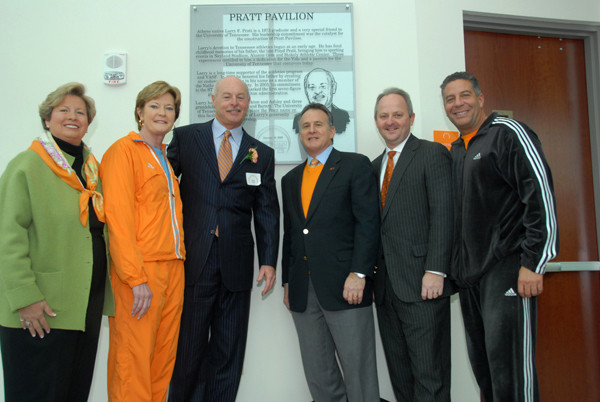 Joan Cronan, Pat Summitt (Vols women's baskeball coach), Larry Pratt, Dr. John Petersen, University AD Mike Hamilton and Bruce Pearl . picture appears courtesy of utsports.com copyrighted material @ all rights reserved
