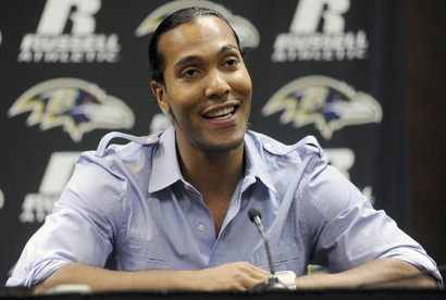 Wide receiver T.J. Houshmandzadeh speaks during a news conference to introduce him as a Baltimore Raven at the NFL football team's headquarters in Owings Mills, Md. Tuesday, Sept. 7, 2010. (AP Photo/Steve Ruark .........