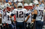 Foxboro, Ma,. Quarterback Tom Brady (12) of the New England Patriots huddles with the offense during the NFL season opener against the Cincinnati Bengals at Gillette Stadium on September 12, 2010 in Foxboro, Massachusetts. Jim Rogash/Getty Images