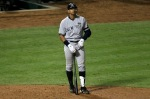 ARLINGTON, TX - OCTOBER 22: Alex Rodriguez (13) of the New York Yankees stands outside the batters box during the ninth inning of Game Six of the ALCS against the Texas Rangers during the 2010 MLB Playoffs at Rangers Ballpark in Arlington on October 22, 2010 in Arlington, Texas. (Photo by Ronald Martinez/Getty Images .................