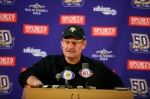 Minnesota Vikings head coach Brad Childress answers questions from the media during a press conference at Winter Park on October 7, 2010 in Eden Prairie, Minnesota. Photo by Adam Bettcher/Getty Images .......