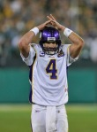 Brett Favre (4) of the Minnesota Vikings reacts after throwing a final incomplete pass against the Green Bay Packers at Lambeau Field on October 24, 2010 in Green Bay, Wisconsin. The Packers defeated the Vikings 28-24. Photo by Jim Prisching/Getty Images ......