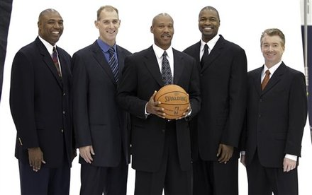 Cleveland Cavaliers coach Byron Scott, center, is flanked by his coaching staff, from left, Paul Pressey, Chris Jent, Jamahl Mosley and Joe Prunty as they pose for a photograph during the NBA basketball team's media day at the Cavaliers' training facility in Independence, Ohio, on Monday, Sept. 27, 2010. AP Photo/Amy Sancetta