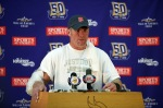 Minnesota Vikings quarterback Brett Favre answers questions from the media during a press conference at Winter Park on October 7, 2010 in Eden Prairie, Minnesota. Photo by Adam Bettcher/Getty Images ......