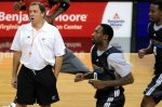 Flip Saunders seen here putting players through a training drill at the Wizards' home arena the Verizon Center , Washington , D.C,. courtesy of The Washington Times / Curt Plessey ...