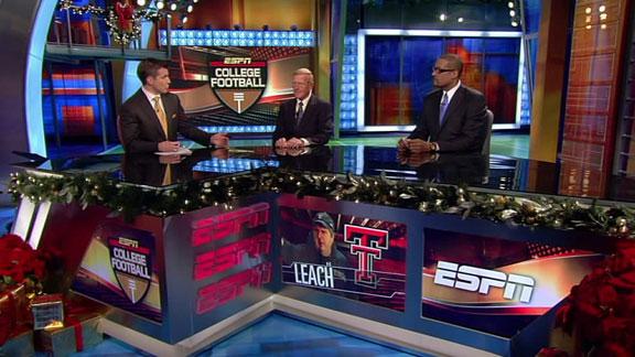 Holtz (center) is seen here alongside Mark May(right) and ESPN presenter and host Rece Davis. Associated Press/ Chris Murphy ......