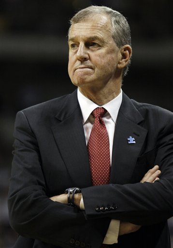 In this March 7, 2009, file photo, Connecticut coach Jim Calhoun reacts during the second half of an NCAA college basketball game against Pittsburgh in Pittsburgh. The University Connecticut says its men's basketball program committed major NCAA recruiting violations. The school imposed its own sanctions, including two years' probation and a loss of one scholarship for the next two seasons. But the university says the evidence does not support the NCAA allegation that coach Jim Calhoun _ who has won two national titles with the Huskies _ failed to promote an atmosphere for compliance. AP Photo/Carolyn Kaster .....